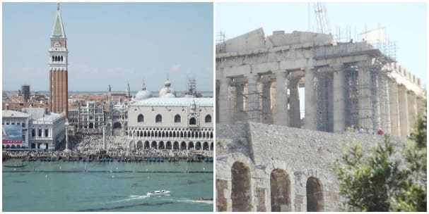 Two of the main reasons Bob Lewis picked a Mediterranean cruise were to see Italy and Greece. He visited Venice, left, and Athens, among others.