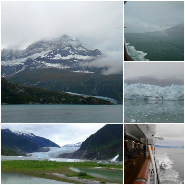 Clockwise from top left: Lamplugh Glacier on Glacier Bay, Westerdam at the end of the rainbow, Juneau Marjerie Glacier, Park Rangers came on board from Glacier Bay National Park and Mendenhall Glacier.