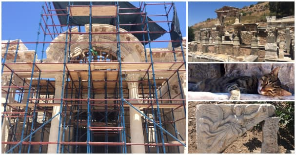 The Temple of Hadrian (left) was being restored during my visit, the perfect excuse to go back to Ephesus. On the right, the Fountain of Trajan, an Ephesian cat nap and a relief of the goddess Nike.