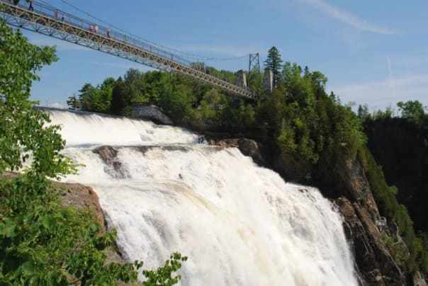 The Montmorency Falls are one-and-a-half times taller than Niagara Falls but not as wide. You can walk across a suspension bridge from one side to the other.