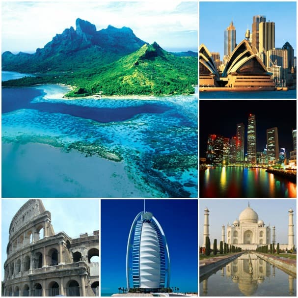 Travel around the globe on the Grand World Voyage, clockwise from top left: Bora Bora, Sydney, Singapore, Taj Mahal (can be reached on an overland from Mumbai), Dubai and Rome.