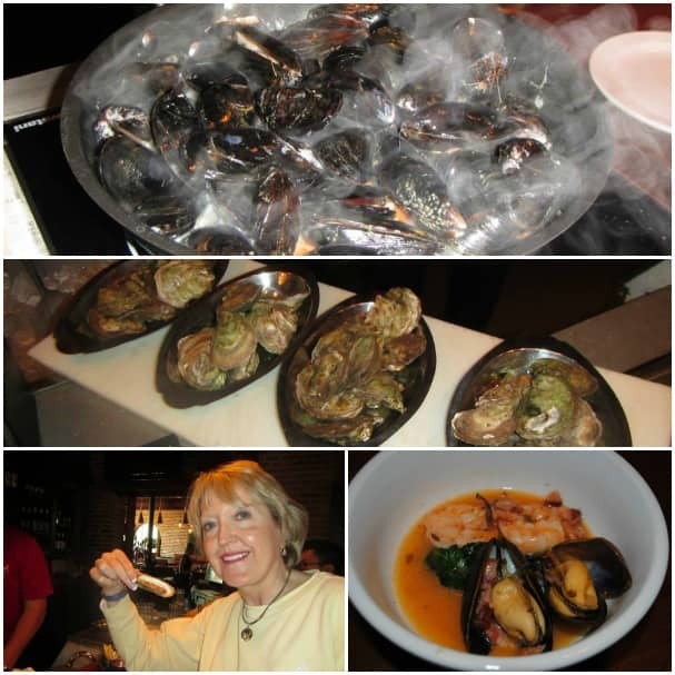 Debbra enjoying the mussels and oysters.
