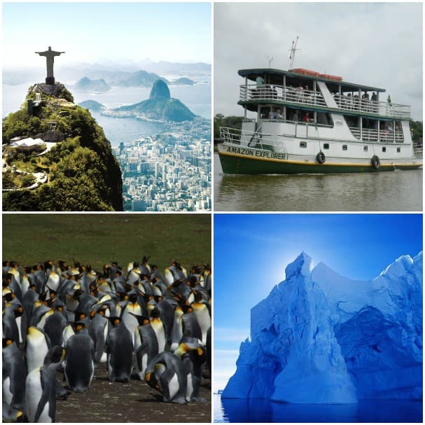 Clockwise from top left: Rio de Janeiro, the Amazon River, Antarctica and penguins at Stanley.