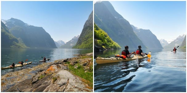 Kayaking on Aurlandsfjord gives a new vantage point of the scenery.