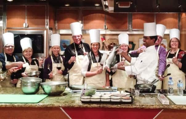"""All About Salmon"" is a popular cooking class on Alaska cruises."