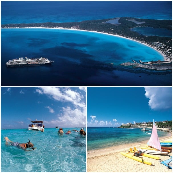 All roundtrip Fort Lauderdale itineraries include a call at Half Moon Cay (top), the line's private island. Other calls may include St. Thomas, bottom right, and Grand Cayman.