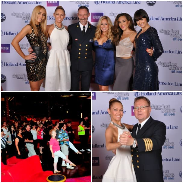 "The Ladies of ""Dancing with the Stars: At Sea"" with Zuiderdam Captain Chris Turner; pro Kym Johnson with the Zuiderdam chief engineer, who loves to dance, and the shipboard dance classes."