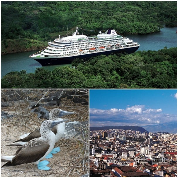 Following a transit of the Panama Canal, the ship calls at Ecuador where guests can go to the Galapagos Islands or Quito.