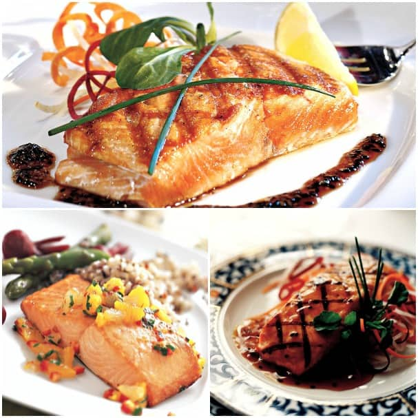 Onboard, salmon is served up in a variety of ways