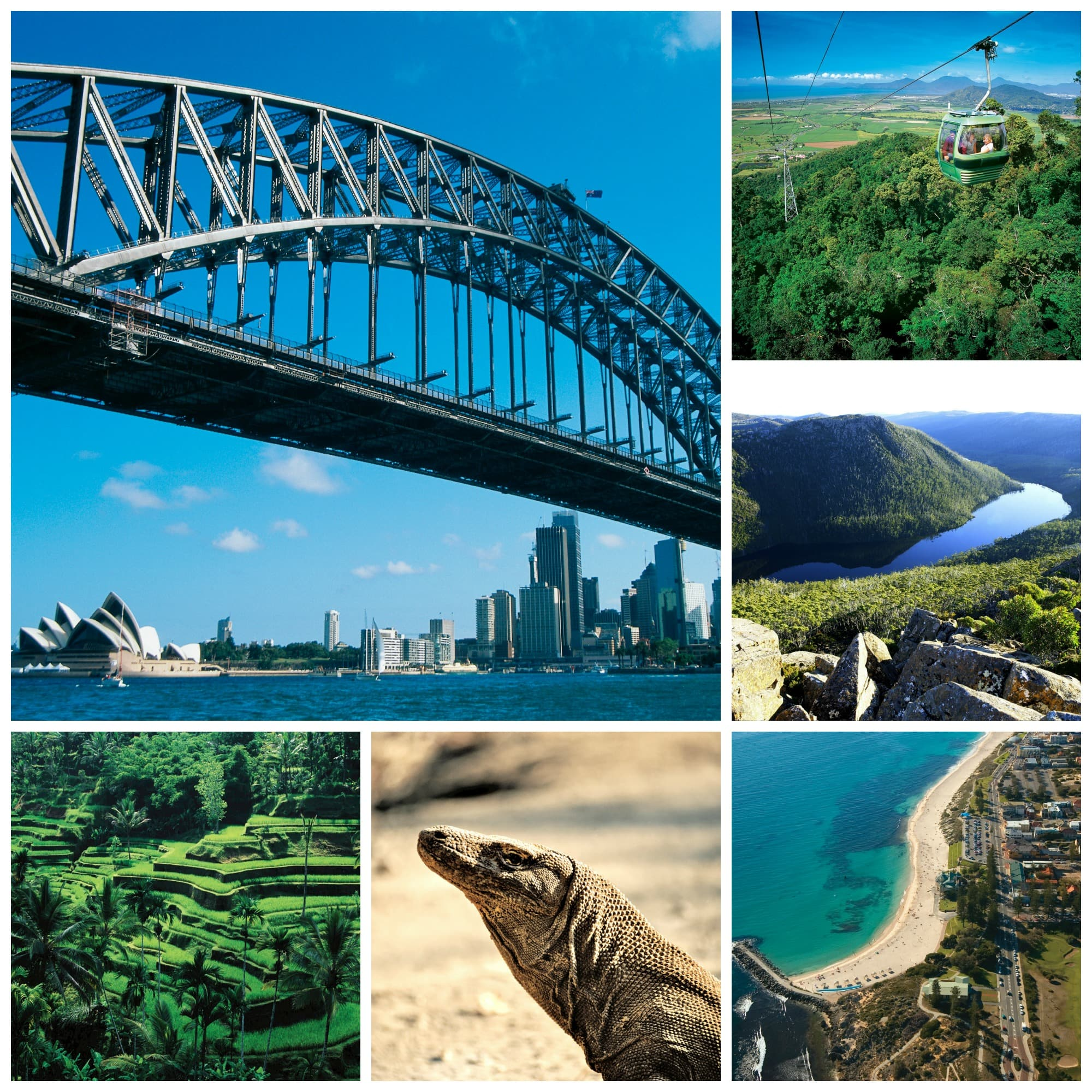 The Australia circumnavigation offers an in-depth look at the continent and beyond, with calls at (clockwise from top left) Sydney, Cairns, Hobart, Komodo Island and Bali.