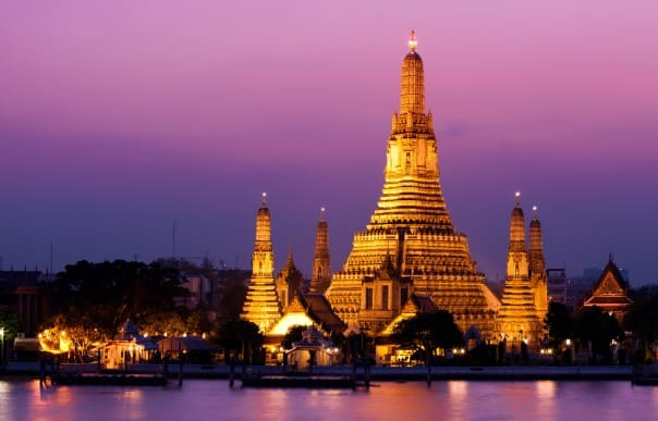Bangkok's Wat Arun featured on a few overland tours is a magical sight no matter the time of day.
