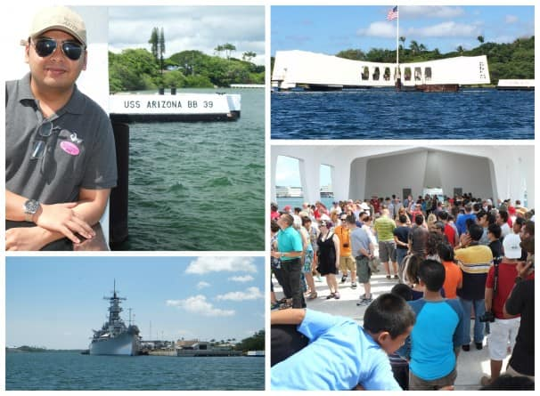 A visit to Pearl Harbor is an important and moving experience. Clockwise from top left: A Holland America Line team member poses at the site of the USS Arizona; A photo of the memorial by guests Petrus and Sylvia Huijgen; A group tour listens to a history lesson and the site.