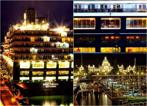 Westerdam glows at Vancouver, British Columbia. Photo by Michael McNerney.