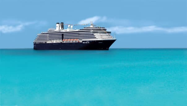 Zuiderdam, anchored in the stunning turquoise waters off Half Moon Cay, kicks off the season today.