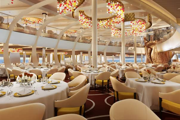 Koningsdam's beautiful Main Dining Room.