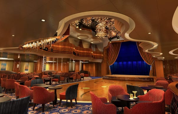 The two-floor Queen's Lounge on Koningsdam has been completely reimagined as an elegant theater.