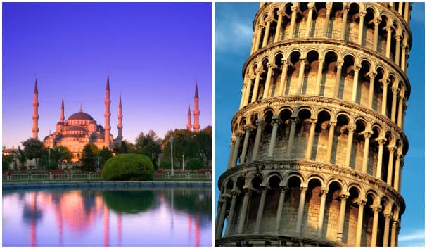 The Blue Mosque and Leaning Tower of Pisa are two iconic sights.