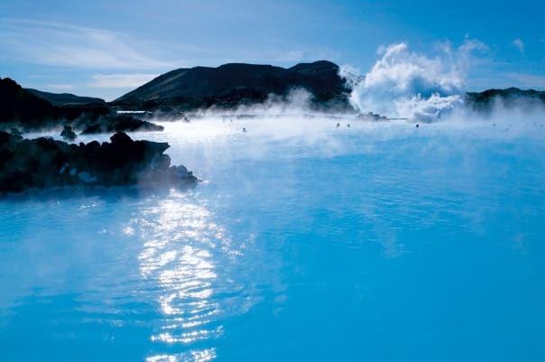 Enjoy a relaxing thermal bath at The Blue Lagoon near Reykjavik, Iceland.