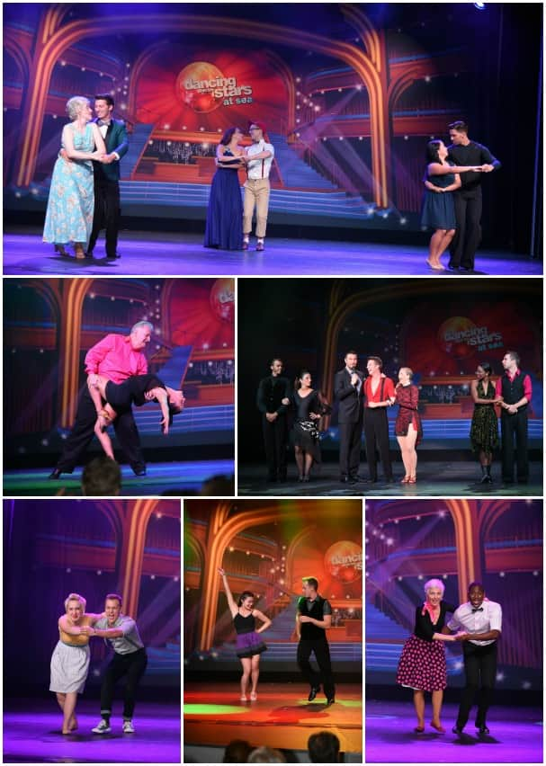 Day 1, clockwise from top: the contestants performing an elegant waltz, getting ready for the tango, Jacoba doing the jive, Caroline and her sassy samba, Summer performing the Jive and Ian's exciting cha cha.