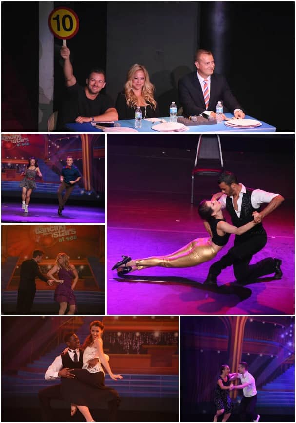 Day 2, clockwise from top: The judging panel of professional dancer Artem Chigvintsev, actress Sabrina Bryan  and Cruise Director Johnathon Rogers; Frances doing a tango; Matthew flicking his feet in the jive; Simona's foxtrot; Kelly did the samba; and Caroline and her jive.