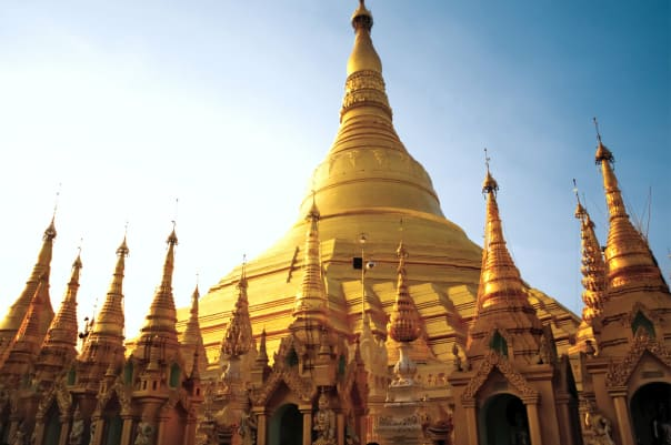 The Shwedagon Pagoda at Myanmar can be visited on the Passage to the Far East voyage.