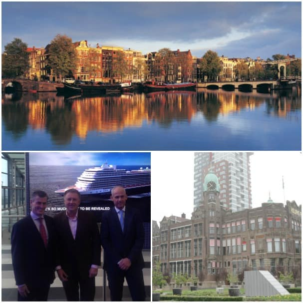 The ports of Amsterdam, top, and Rotterdam hosted press events today to announce Koningsdam's new itineraries. In the center photo are Mark Kammerer, vice president, international marketing and sales; Rene Kouwenberg, director of the Passenger Terminal Amsterdam; and Nico Bleichrodt, managing director, sales and marketing — North and Central Europe.