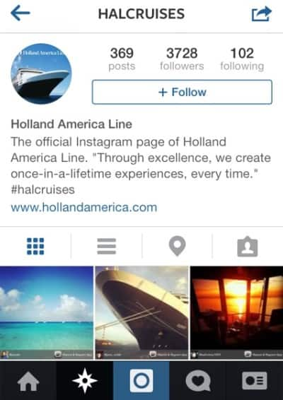 Holland America Line's Instagram page, as seen on a mobile device.