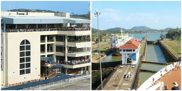 A crowded visitor center, left, and Miraflores locks.