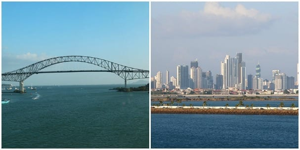Bridge of the Americas and Panama City.