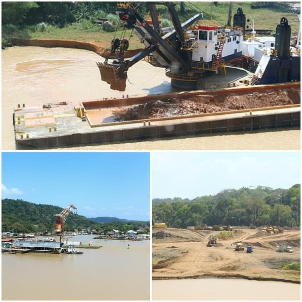 Clockwise from top: A bucket dredger, bulldozers moving the dried dredge mud and approaching Gamboa.