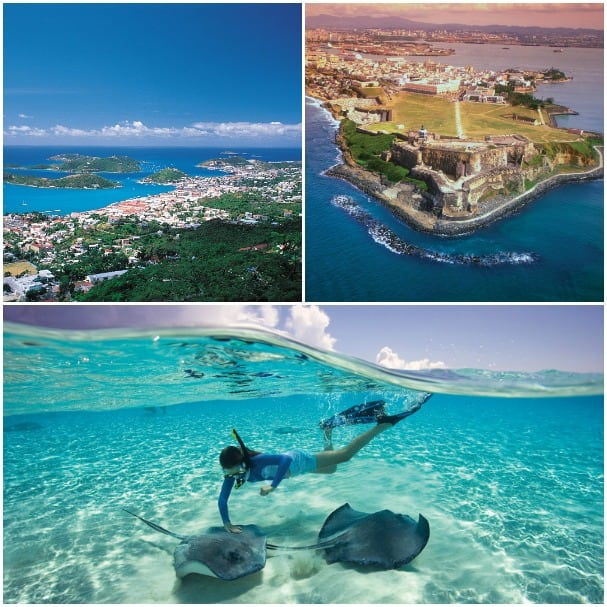 Clockwise from upper left: St. Thomas, San Juan and Grand Cayman are featured on the seven-day voyages.