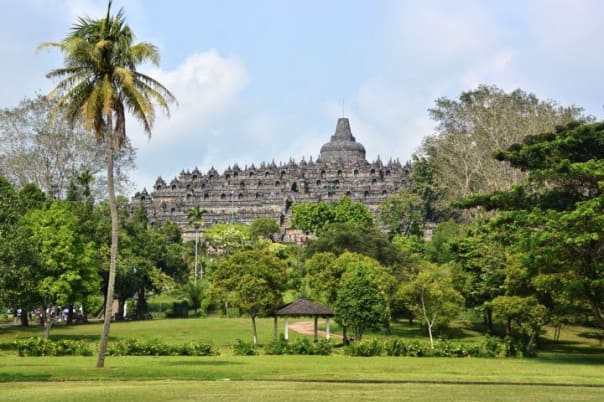 Borobudur stands tall and majestic among the trees. Photo by Jeff.