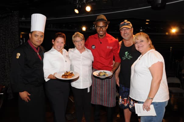"From left: Chef  Tournant Julio Ortiz, Culinary Arts Center Hosts Melodye Brant and Barbara Mills, Chef Brian Lumley and guests Michelle and Timothy Falvey, self-proclaimed ""Jamericans"" who were thrilled to have Lumley onboard."