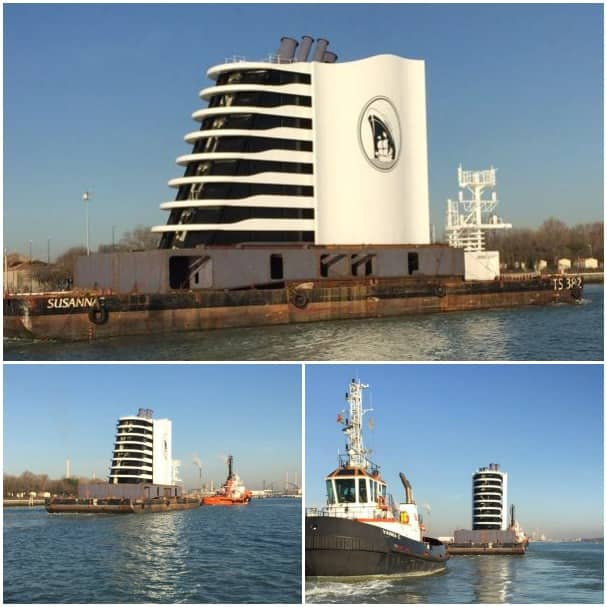 Koningsdam's funnel arriving at the shipyard.