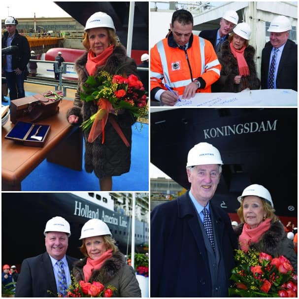 The coin ceremony, clockwise from top left: Madrina Tineke Schröder; Antonio Quintano, director of Fincantieri Shipyard, Martin and Tinke Schröder, and Keith Taylor; the Schröders; and Keith and Tinke.