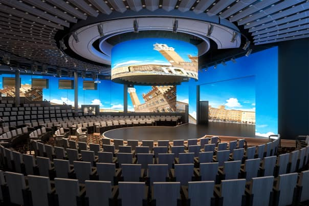 The World Stage features a 270-degree LED screen.