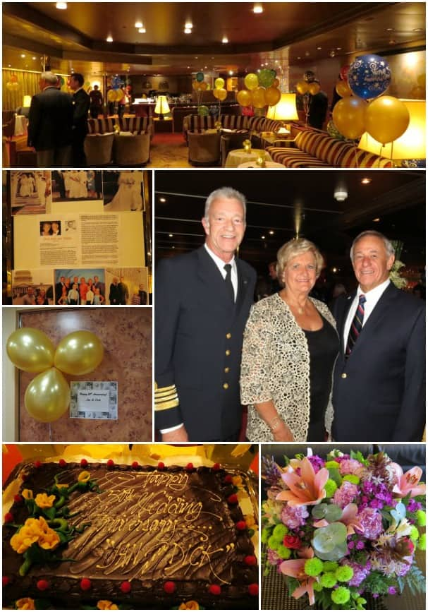 The Yetke's 50th Anniversary celebration included balloons, cake and Captain Mercer.
