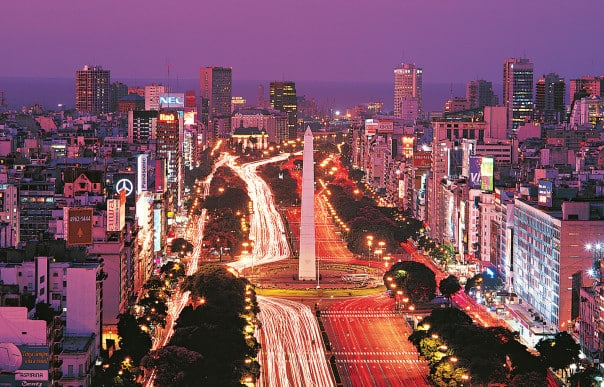 Many South America cities, like Buenos Aires, come alive at night.