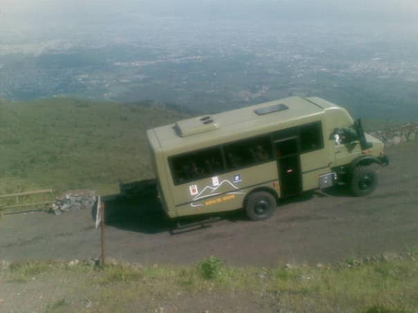 Take an exclusive tour of Mt. Vesuvius on a 4x4 bus.