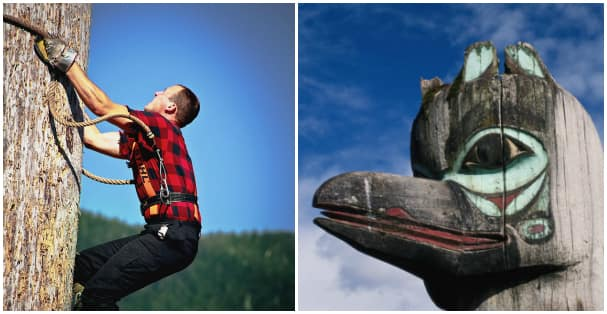 Watch a lumberjack show and visit a totem park.
