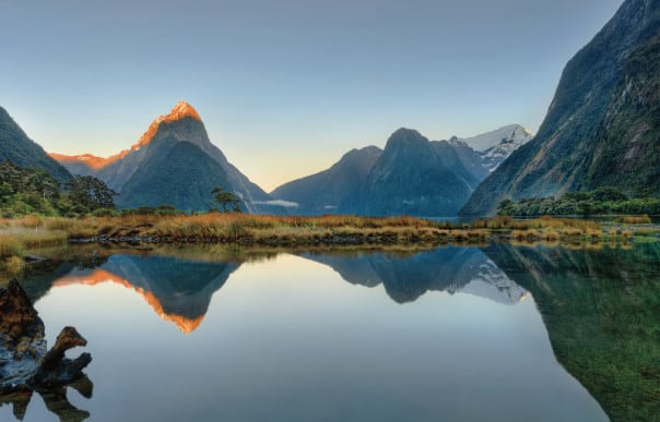 The gorgeous scenery of Milford Sound is a highlight of a cruise to New Zealand.
