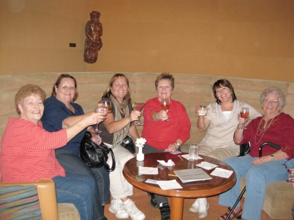 Sandra Farris, third from right, her mom and four sisters on an Alaska cruise.