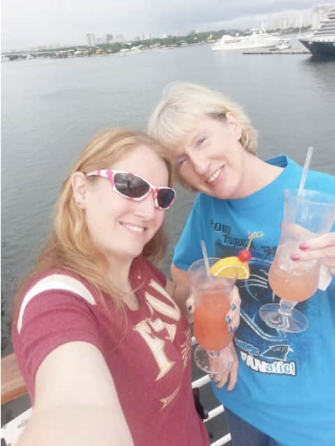 Heather and her mom Shari on deck during sailaway.