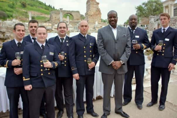 Holland America Line's President Orlando Ashford spent time mingling with Amsterdam's officers at the dinner. Photo by Jeff.