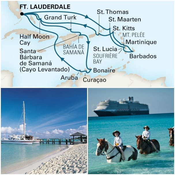 Just look at how this Caribbean Collectors' Voyage spans the region! From Aruba to Half Moon Cay, it's sun, sand and sea all the way.