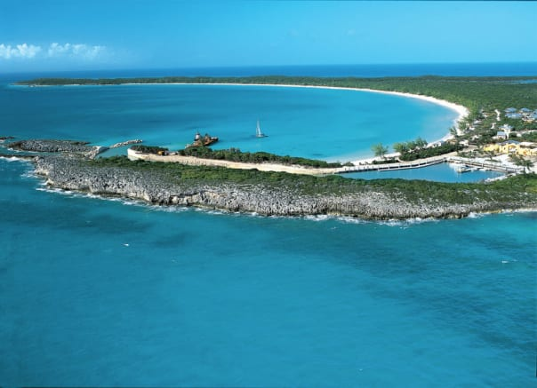 The island's crescent shape is how Half Moon Cay got its name.