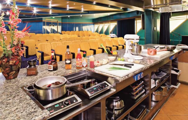 The Culinary Arts Center presented by Food & Wine magazine is a first-class show kitchen at sea.