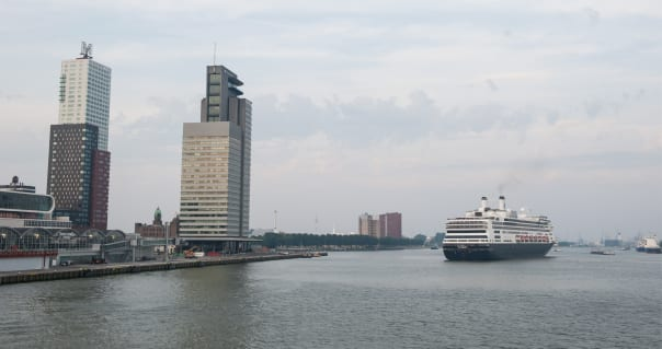Rotterdam arriving at the Port of Rotterdam for its 100th call.