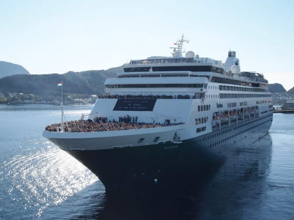 Ryndam farewell sail-away at Alesund, Norway, photographed from sister ship Rotterdam.