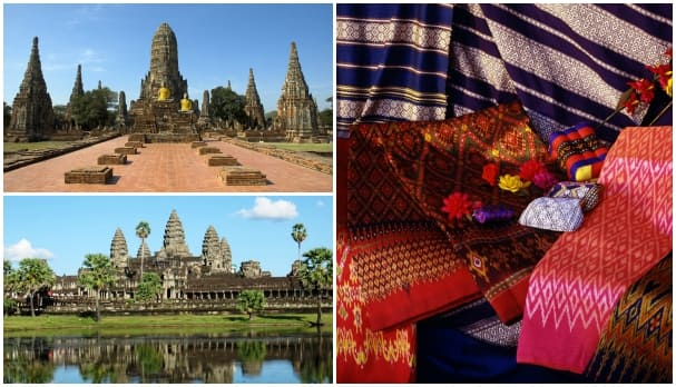 Top left: Ayutthaya, bottom left: Angkor Wat, right: local market offerings